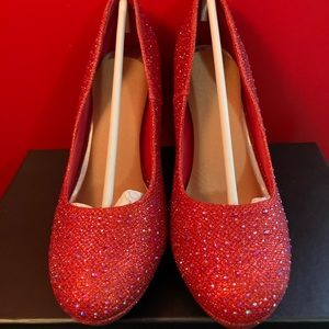 Red & Silver Bling Heels